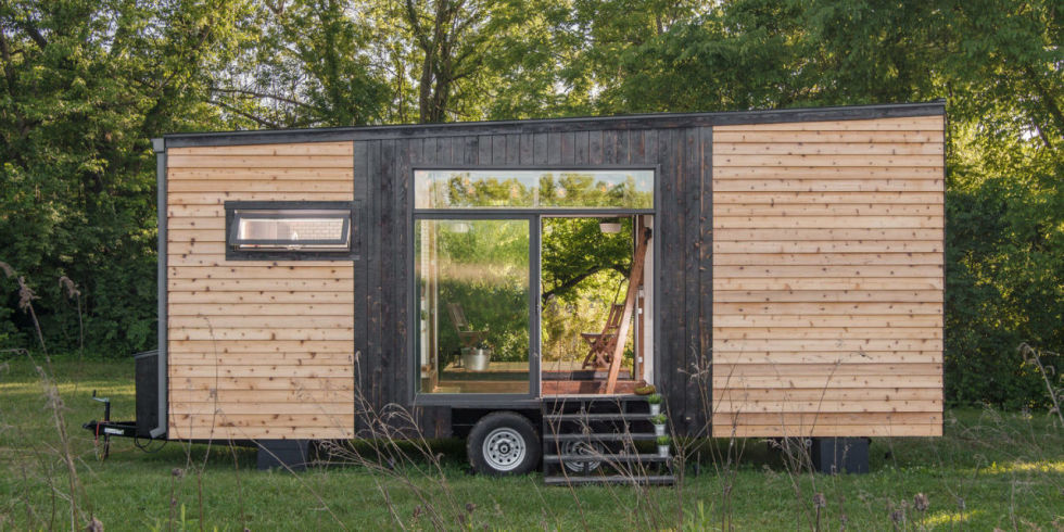 Alpha Tiny House with double sliding glass doors